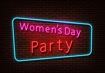 Neon Womens Party sign vector. Womens day light isolated on brick wall. Neon light template for night bar, casino, hotel, shop, club. Light design. Vector illustration.