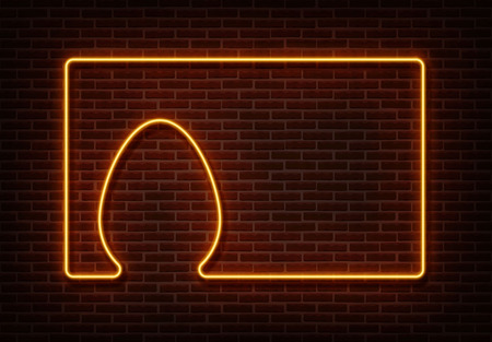 Neon happy easter sign vector isolated on brick wall. Egg with frame light symbol, decoration effect. Neon egg illustration. 版權商用圖片 - 123516519