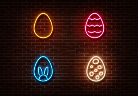 Neon color eggs sign vector isolated on brick wall. Easter light symbol, decoration effect. Neon eggs illustration.