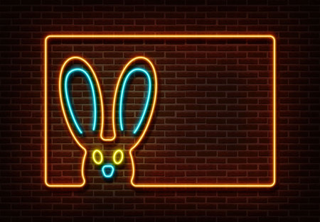 Neon color happy easter sign vector isolated on brick wall. Rabbit with frame light symbol, decoration effect. Neon rabbit illustration. 版權商用圖片 - 123516521