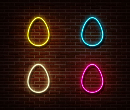Neon color eggs sign vector isolated on brick wall. Easter light symbol, decoration effect. Neon eggs illustration. 版權商用圖片 - 123516522