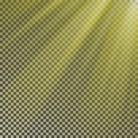 Sun ray light isolate on background vector. Transparent glow yellow sunlight effect. Realistic glare sun ray. Shine light texture design illustration.