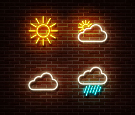 Neon weather sign vector isolated on brick wall. Cloud and sun color light symbol, decoration effect. Neon cloud illustration.
