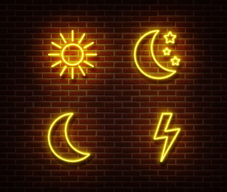 Neon weather sign vector isolated on brick wall. Sun, moon, star, lightning light symbol, decoration effect. Neon forecast illustration.
