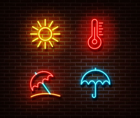 Neon color summer signs vector isolated on brick wall. Sun, temperature, umbrella light symbol, Summer yellow, pink, blue decoration effect. Neon summer illustration. Illustration
