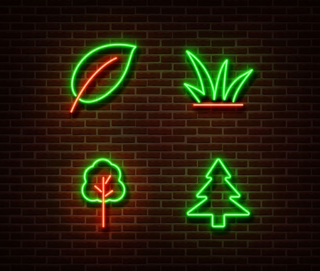 Neon nature sign vector isolated on brick wall. Tree and leaf light symbol, decoration effect. Neon nature illustration.