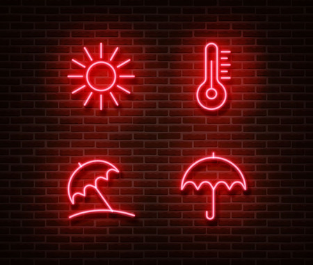 Neon weather sign vector isolated on brick wall. Summer light symbol, decoration effect. Neon vacation illustration.
