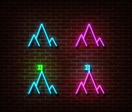 Neon mountain sign vector isolated on brick wall. Travel camp light symbol, decoration effect. Neon mountain illustration.