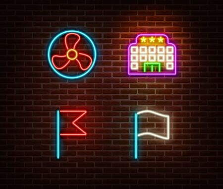 Neon fan, hotel, flags signs vector isolated on brick wall. light symbol, decoration effect. Neon illustration. Vettoriali
