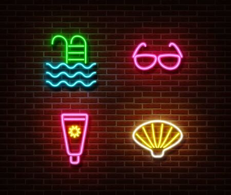 Neon swimming pool,sunglasses, sunscreen, shell signs vector isolated on brick wall. Summer relax light symbols, beach decoration effect. Neon illustration.
