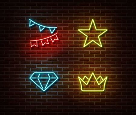 Neon celebration signs vector isolated on brick wall. Holiday flags, star, crown, diamond light symbol, decoration effect. Neon illustration. Vectores