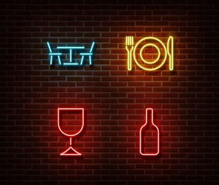 Neon food and drinks signs vector isolated on brick wall. Dinner light symbol, decoration effect. Neon food and drink illustration.
