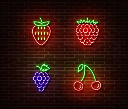 Neon vegetables berrys signs vector isolated on brick wall. Strawberry, raspberry, cherry, grape light symbol, decoration effect. Neon nature fruits illustration.