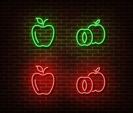 Neon vegetable signs vector isolated on brick wall. Green and red apples light symbol, decoration effect. Neon nature fruits illustration.