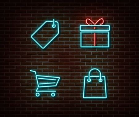 Neon shopping signs vector isolated on brick wall. Discount card,cart, gift, shop bag light symbol, decoration effect. Neon store illustration.