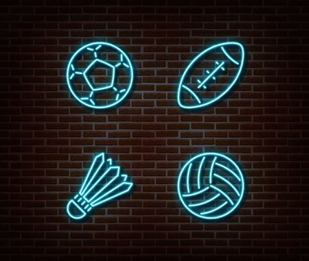 Neon rugby, soccer, badminton, volleyball balls sign vector isolated on brick wall. Sport balls light symbol, football decoration effect. Neon balls illustration.