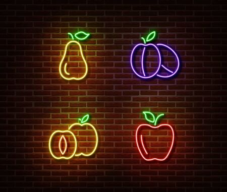 Neon vegetables fruits signs vector isolated on brick wall. Pear, ripe plums, apple, apricot light symbol, decoration effect. Neon nature fruits illustration.