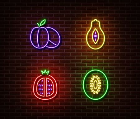 Neon vegetables fruits signs vector isolated on brick wall. Ripe plums, avocado, garnet, kiwi light symbol, decoration effect. Neon nature fruits illustration.