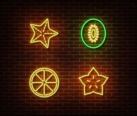 Neon vegetables fruits signs vector isolated on brick wall. Star, kiwi, lemon light symbol, decoration effect. Neon nature fruits illustration. Illustration