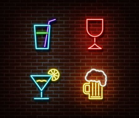 Neon alcohol drinks signs vector isolated on brick wall. Coctail light symbol, decoration effect. Neon drinks illustration.