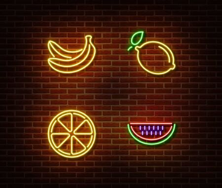 Neon vegetable signs vector isolated on brick wall. Banana, lemon, orange, watermelon light symbol, decoration effect. Neon nature fruits illustration. Illustration