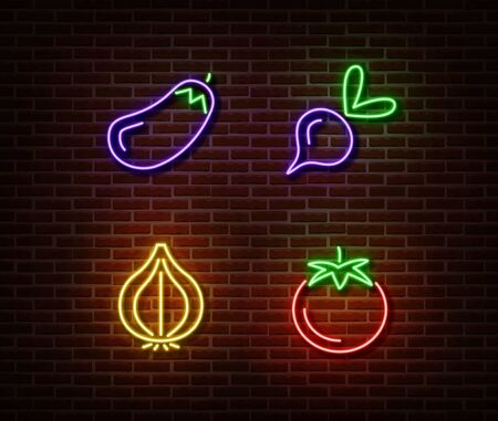 Neon vegetables signs vector isolated on brick wall. Eggplant, beetroot, onion, tomato light symbol, decoration effect. Neon nature fruits illustration.