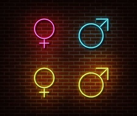 Neon gender symbols signs vector isolated on brick wall. Male and female sign light symbol, decoration effect. Neon illustration. Illustration