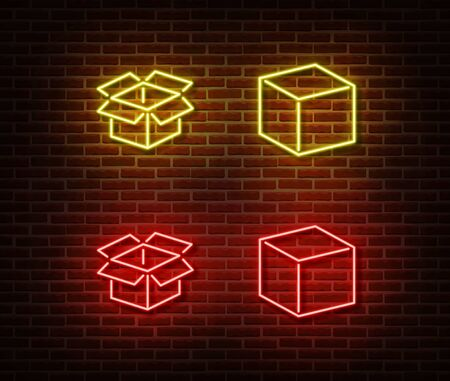 Neon open box, cube signs vector isolated on brick wall. Neon post box light symbol. Vector illustration. Illustration