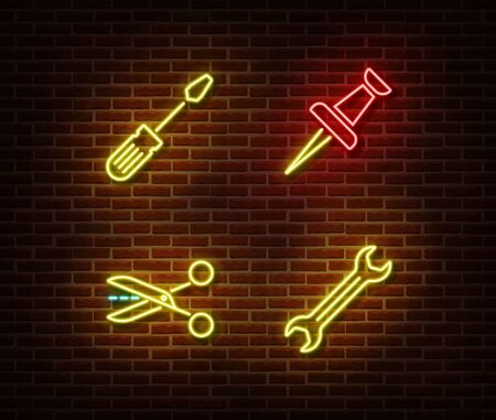 Neon screwdriver, pin, scissors, wrench signs vector isolated on brick wall. Neon work tools light symbol. Vector illustration.