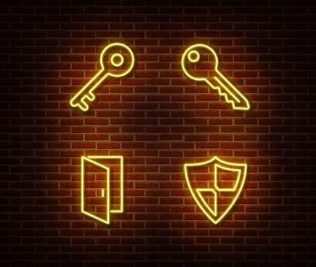 Neon keys, shield, door signs vector isolated on brick wall. Neon protection light symbol. Vector illustration. Ilustrace