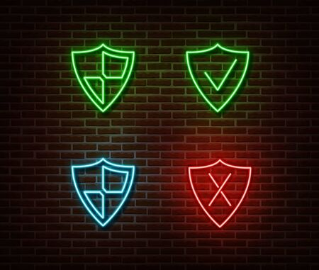 Neon safety shield signs vector isolated on brick wall. Neon security light symbol. Vector illustration. Vettoriali