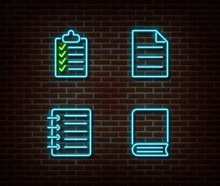 Neon checklist, book, note, file signs vector isolated on brick wall. Neon studying light symbol. Vector illustration. Vettoriali