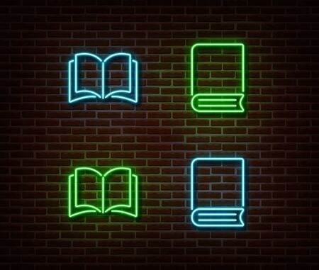 Neon books signs vector isolated on brick wall. Neon open book light symbol. Vector illustration..