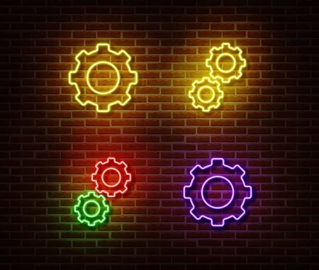 Neon gear signs vector isolated on brick wall. Neon mechanic light symbol. Vector illustration..