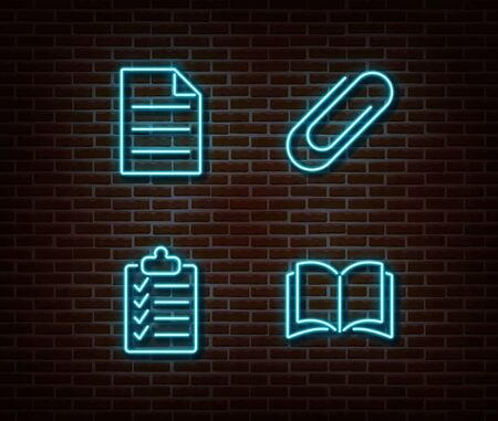 Neon file, checklist, book, note, clip signs vector isolated on brick wall. Neon studying light symbol. Vector illustration. Illustration