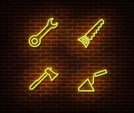 Neon hammer, trowel, axe, hand saw signs vector isolated on brick wall. Neon work tools light symbol. Vector illustration.