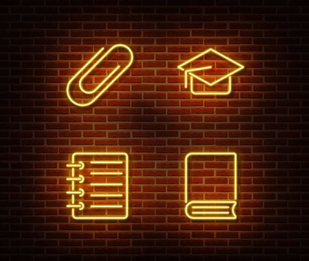 Neon checklist, book, note, clip, graduate cap signs vector isolated on brick wall. Neon studying light symbol. Vector illustration.