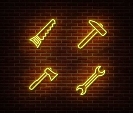 Neon hammer, wrench, axe, hand saw signs vector isolated on brick wall. Neon work tools light symbol. Vector illustration. Vettoriali