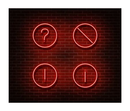 Neon forbidden signs vector isolated on brick wall. Road ban light symbol, decoration effect. Neon illustration.