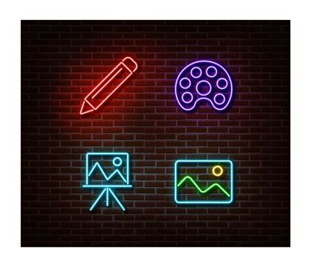 Neon pencil, paint, picture, easel signs vector isolated on brick wall. Art light symbol, decoration effect. Neon illustration. Vettoriali