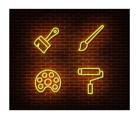 Neon artist signs vector isolated on brick wall. Paint light symbol, decoration effect. Neon illustration. Vettoriali