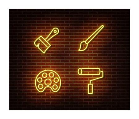 Neon artist signs vector isolated on brick wall. Paint light symbol, decoration effect. Neon illustration. Illustration