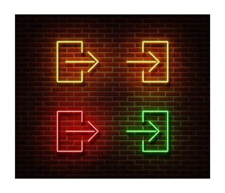 Neon entrance, exit signs vector isolated on brick wall. Direction door light symbol, decoration effect. Neon illustration. Vettoriali