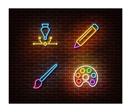 Neon pencil, paint tool, pen, brush signs vector isolated on brick wall. Drawing light symbol, decoration effect. Neon illustration. Illustration