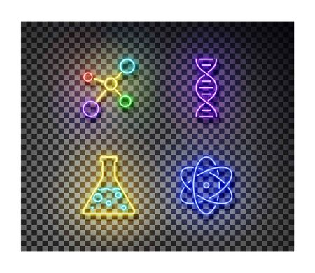 Neon molecule, chemistry flask, dna, atom signs vector isolated on on transparent background. Chemistry light symbol, decoration effect. Neon illustration.