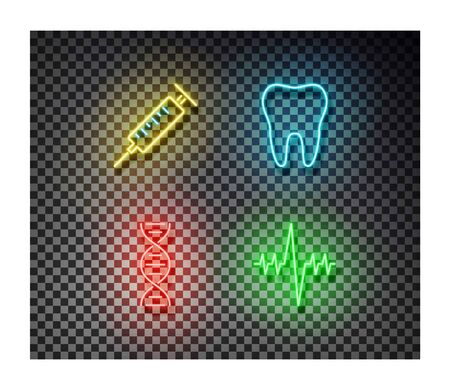 Neon syringe, tooth, dna, cardiogram signs vector isolated on on transparent background. Medicine light symbol, decoration effect. Neon health illustration.