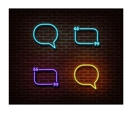 Neon message, chat, quote signs vector isolated on brick wall. Texting light symbol, decoration effect. Neon chat illustration. Vettoriali