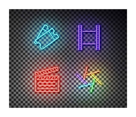 Neon ticket, movie tape, clip, camera shutter signs vector isolated on on transparent background. Cinema light symbol, decoration effect. Neon illustration. Illustration