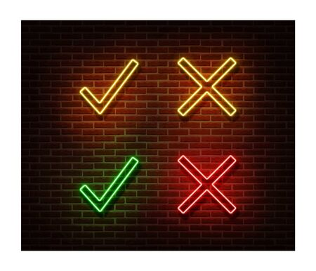 Neon proof, denied signs vector isolated on brick wall. Check light symbol, decoration effect. Neon approve illustration.