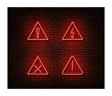 Neon warning signs vector isolated on brick wall. Warning loop light symbol, decoration effect.